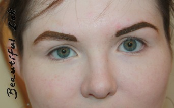 After eyebrow design, using pigment to be tattooed